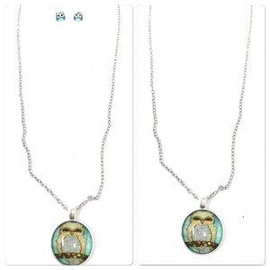 Owl Pendant Necklace & Owl Earrings Set NWOT